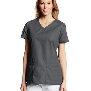 Dickies 6 Pocket Scrub Top in Pewter